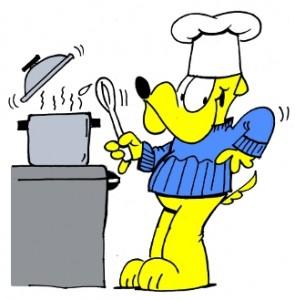 George cooking up a pot of Michael's potato soup!