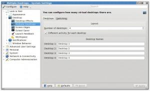 Multiple desktop settings