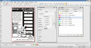 """A screen shot of using Scribus to edit my feature """"George's Word Ladder."""""""