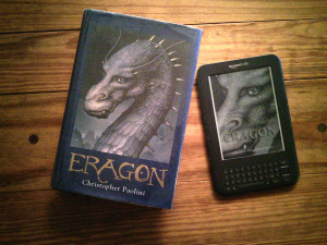 """Eragon"" in both hardbound and Ebook version borrowed from my local library."