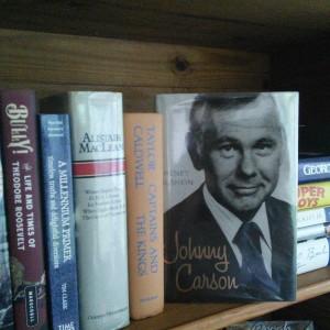 My bookshelf in the summer studio.