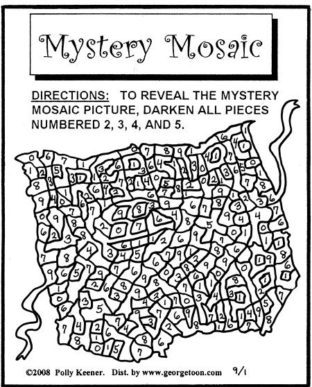 free coloring pages of mystery mosaics